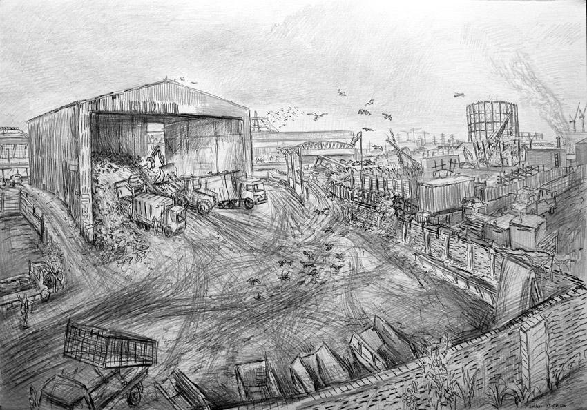 Gillender St recycling depot - drawing - frankcreber | ello