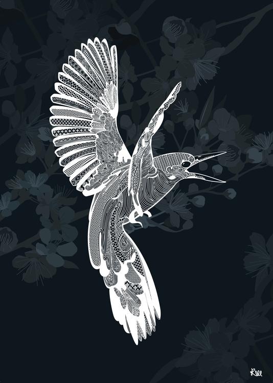 Birds Blossom - bird, nature, blossom - kwebberillustrations | ello