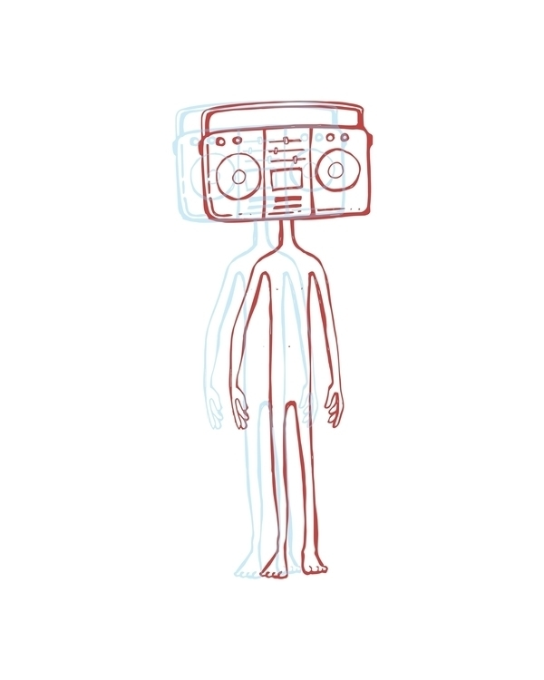 Radio head - radio,head,illustration,drawing,recorder,boombox,music,sound,retro,vintage, - bernardojbp | ello