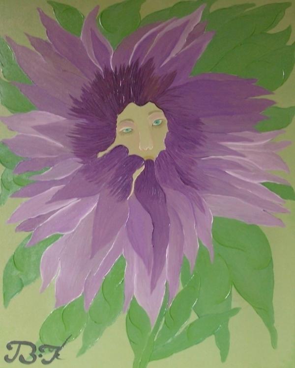 La fleur vivante 80cm 60cm oil  - bakkach | ello