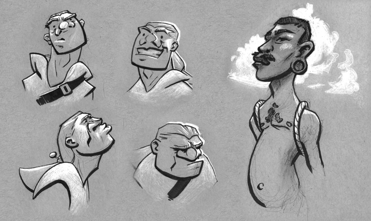 Character expressions design - sketch - vanillustration | ello