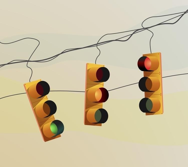 Traffic lights sunset - trafficlights,sunset,urban,city,green,red,yellow,illustration,drawing, - bernardojbp   ello