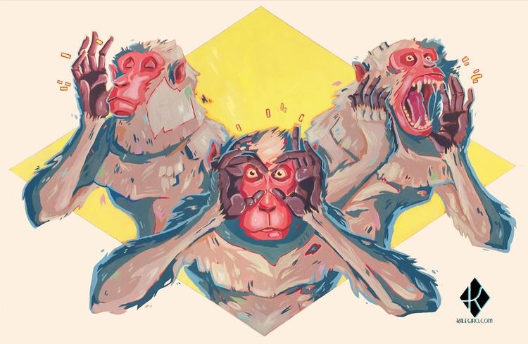 Latest painting! 3 Wise Monkeys - kalegiro | ello