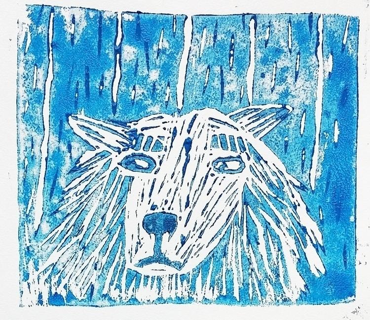 Beardog - linocut, linoprint, linoleumprint - prianikn | ello