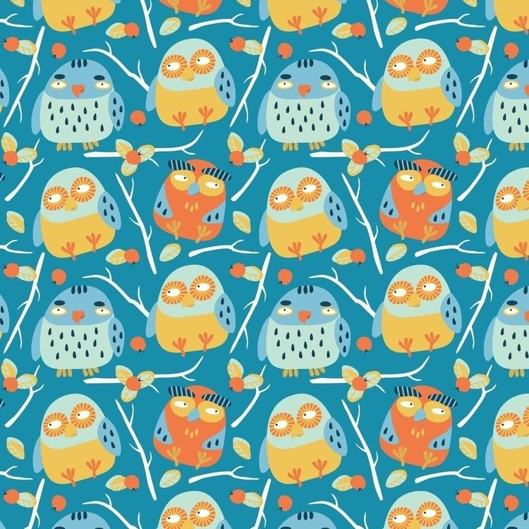 Autumn owls - owl, pattern, vector - prianikn   ello