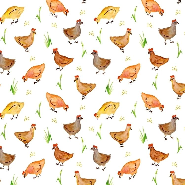 Hens yard - hen, hens, aquarelle - prianikn   ello