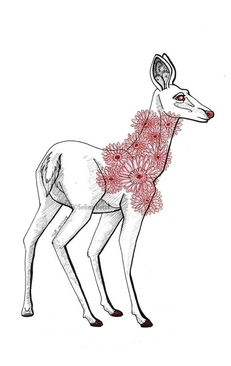 deer, doe, ungulate, blackandwhite - selinabetts | ello