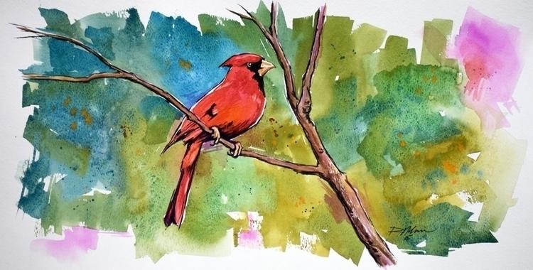 Red Bird - watercolor - rlnelsonmo | ello