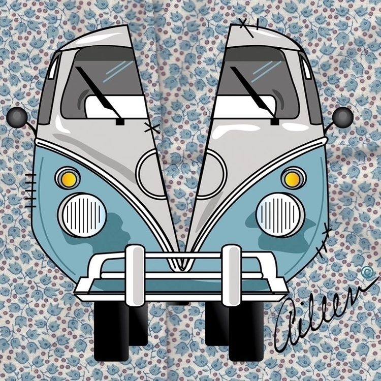 de Vocha - illustration, car, kombi - aileencopyright | ello