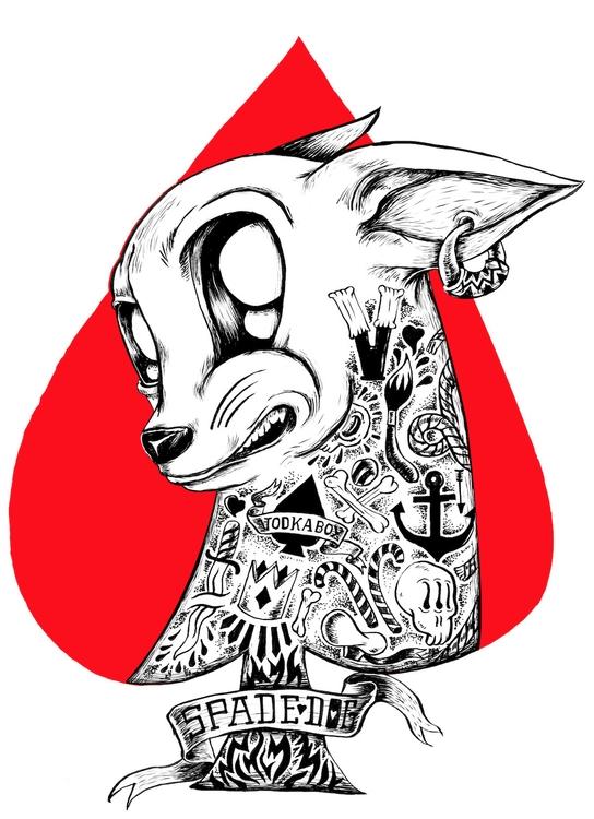 vodkaboy da spade dog - illustration - thanathan | ello