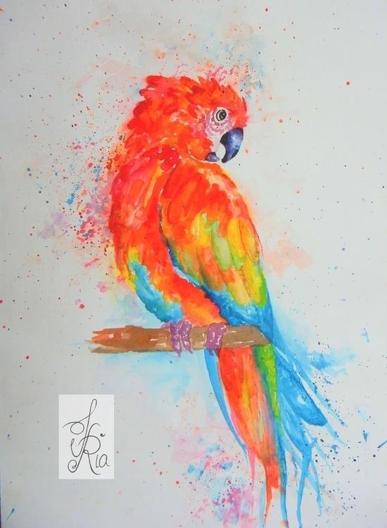 Bird - drawing, watercolor, colorsplash - fariafiroz26 | ello