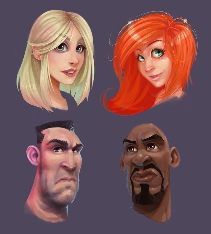 Faces - illustration, painting, characterdesign - adman2808 | ello