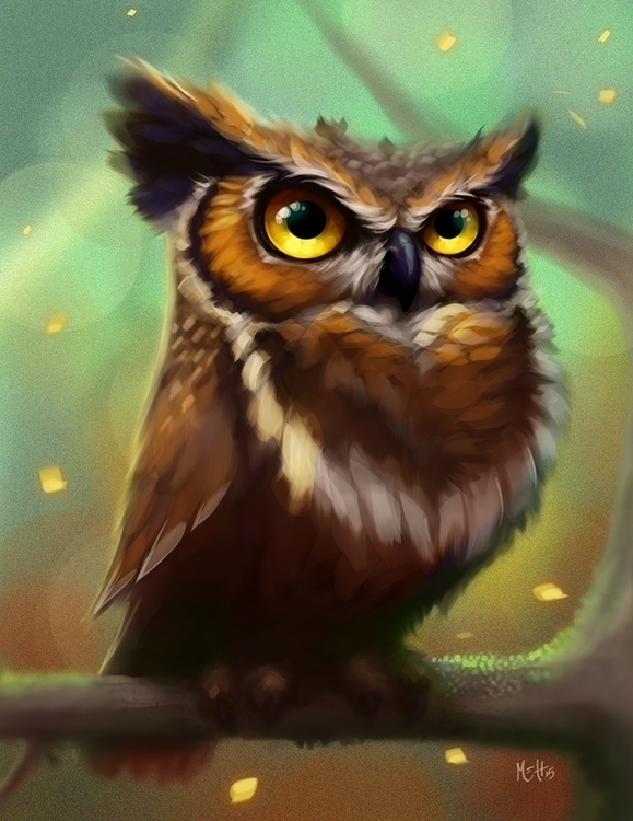 Grumpy Owl - illustration, painting - adman2808 | ello