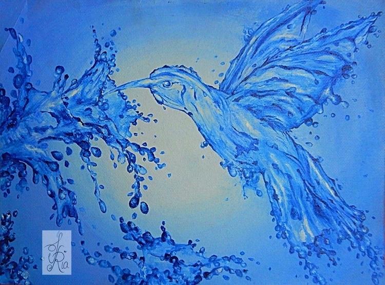 Bird III - acrylicpainting, blues - fariafiroz26   ello