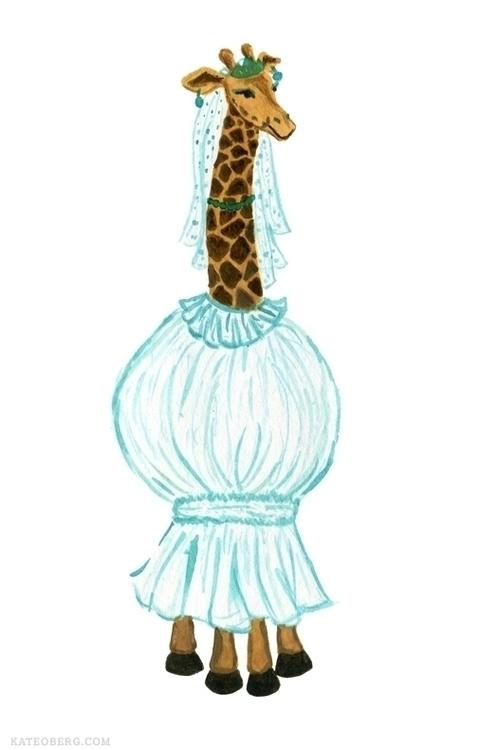 Giraffe bride - funny, gouache, animalwearingclothes - kateoberg | ello