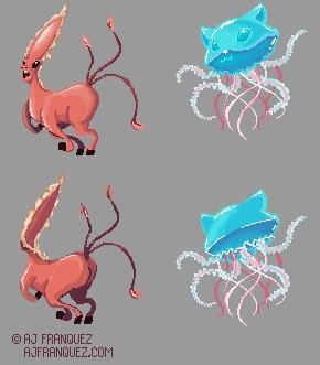 Pixel Monsters - monsters, pixelart - fishfranqz   ello