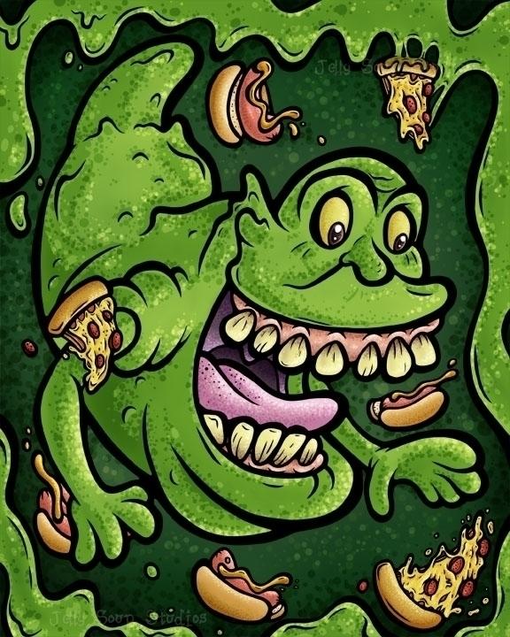 wanted fanart draw Slimer Ghost - jellysoupstudios | ello