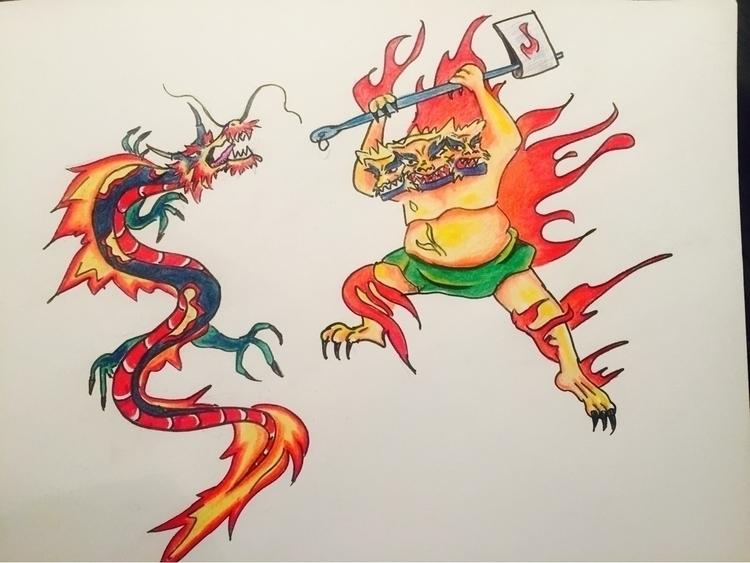 Bataille April/17 - dragon, tiger - nellie380 | ello