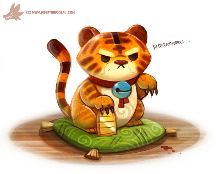 Daily Paint Lucky Tiger - 1089. - piperthibodeau | ello