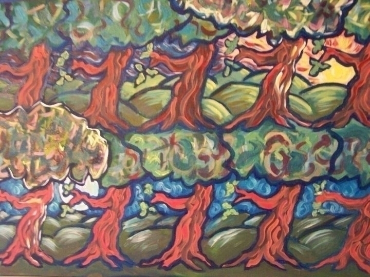 Dancing Trees - painting, acryliconcanvas - michele-1314 | ello
