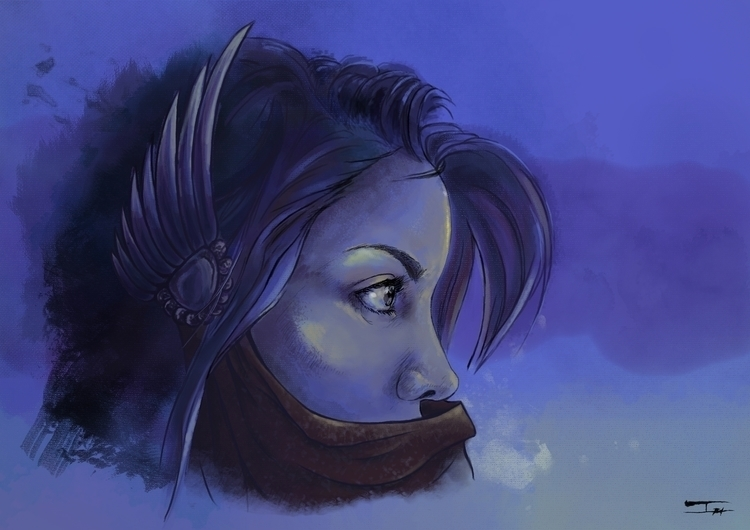 Eyes Blue - illustration, painting - isabelbarbaart | ello