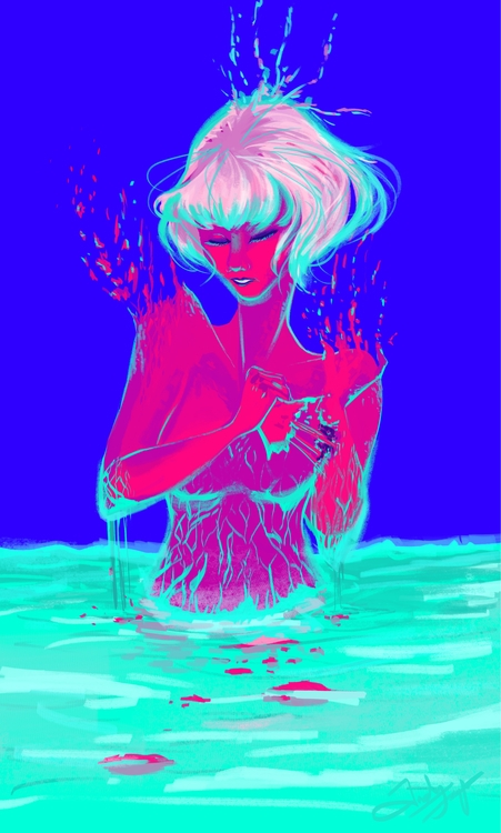 Tearing - illustration, colors, blue - fishfranqz | ello