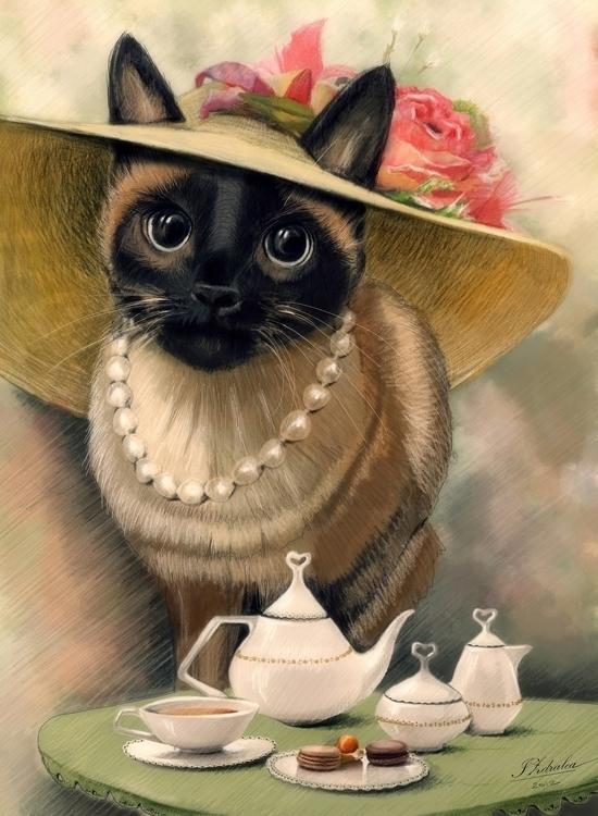 Lady Cat porcelain - illustration - ioanaz | ello