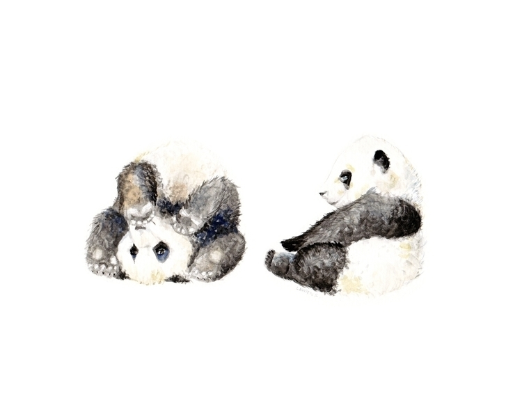original watercolor pandas pain - wanderinglaur | ello