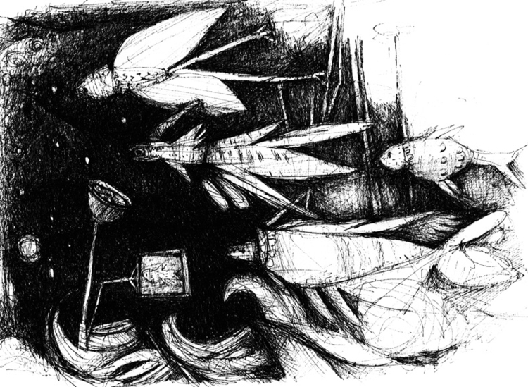 illustration, dark, fish, blackandwhite - tychonikum | ello