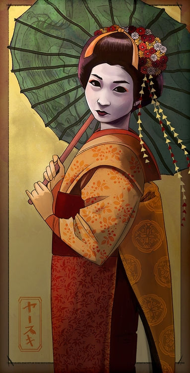 Geisha Gion - illustration, geisha - caitlinyarsky | ello