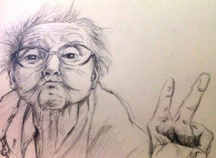 Victory grandma - illustration, drawing - mirilustra   ello