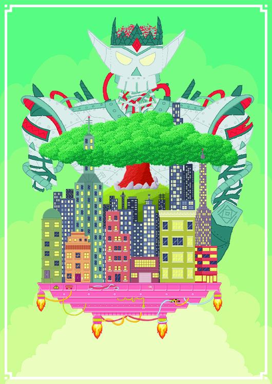 Robot King Strikes - pixelart, city - martinrossouw | ello