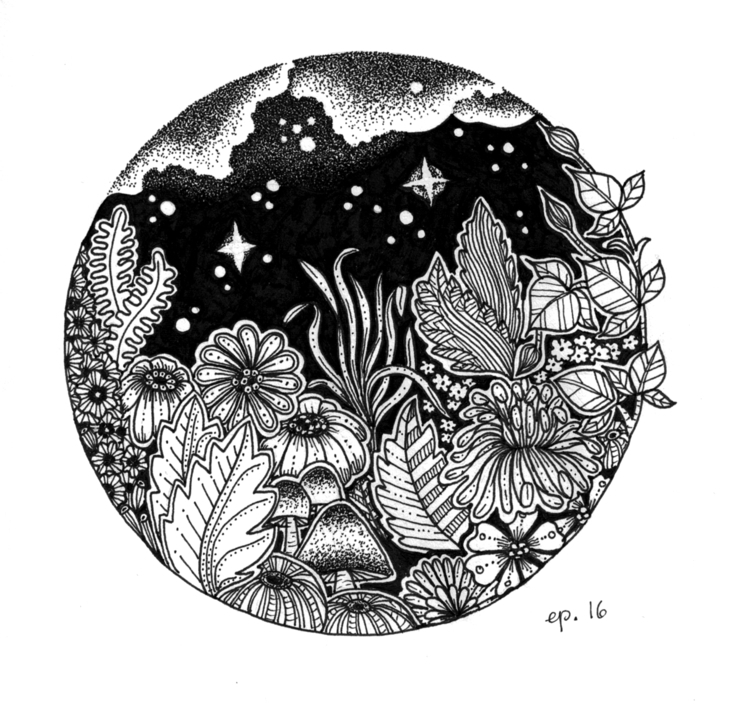 Night - illustration, drawing, monochrome - ellenparzer   ello