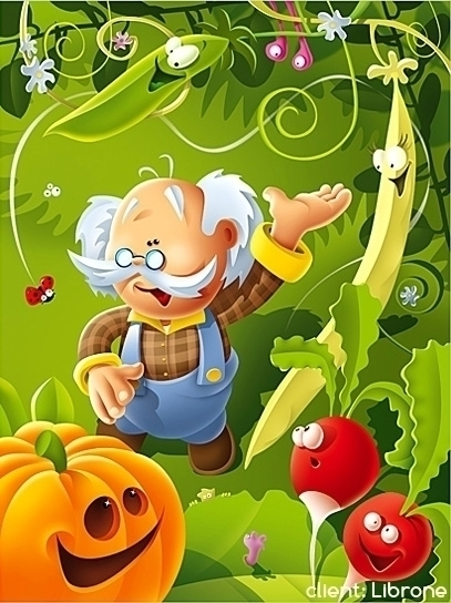 Garden - illustration, garden, grandfather - marcinpoludniak | ello