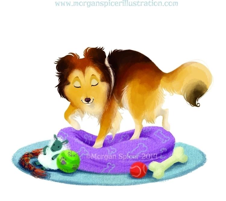 Bed - dog, illustration, childrensbook - barkpointstudio | ello