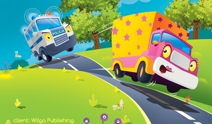 police - illustration, truck, road - marcinpoludniak | ello