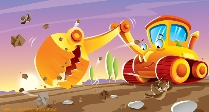 excavator - illustration, sun - marcinpoludniak | ello