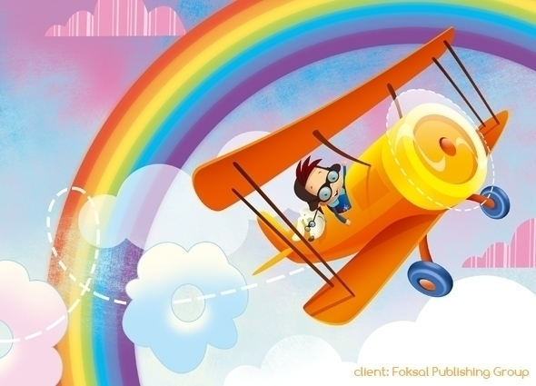 plane - illustration, airplane, rainbow - marcinpoludniak | ello