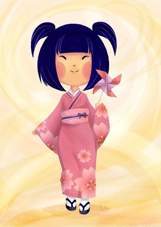 Aiko - girl, kimono, japanese, children'sillustration - candyfox | ello
