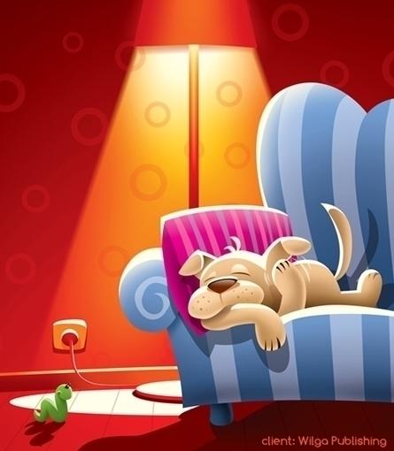 dog - illustration, light, lamp - marcinpoludniak | ello