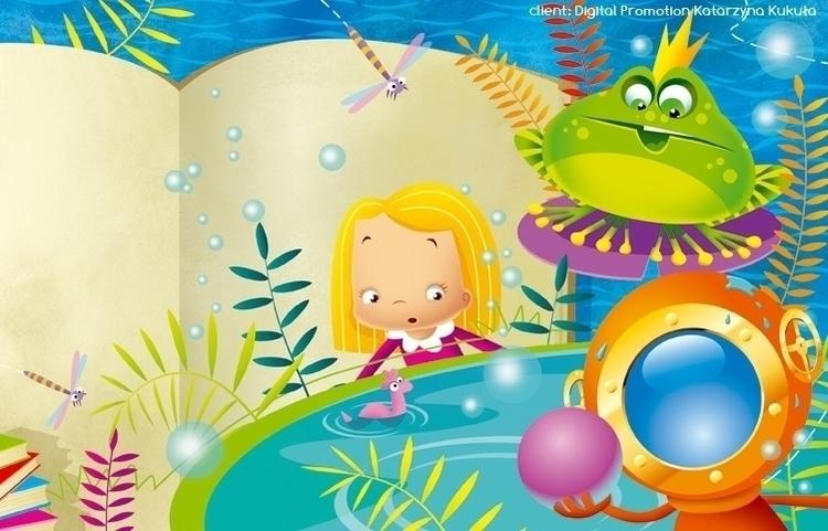 princess - illustration, frog, lake - marcinpoludniak | ello