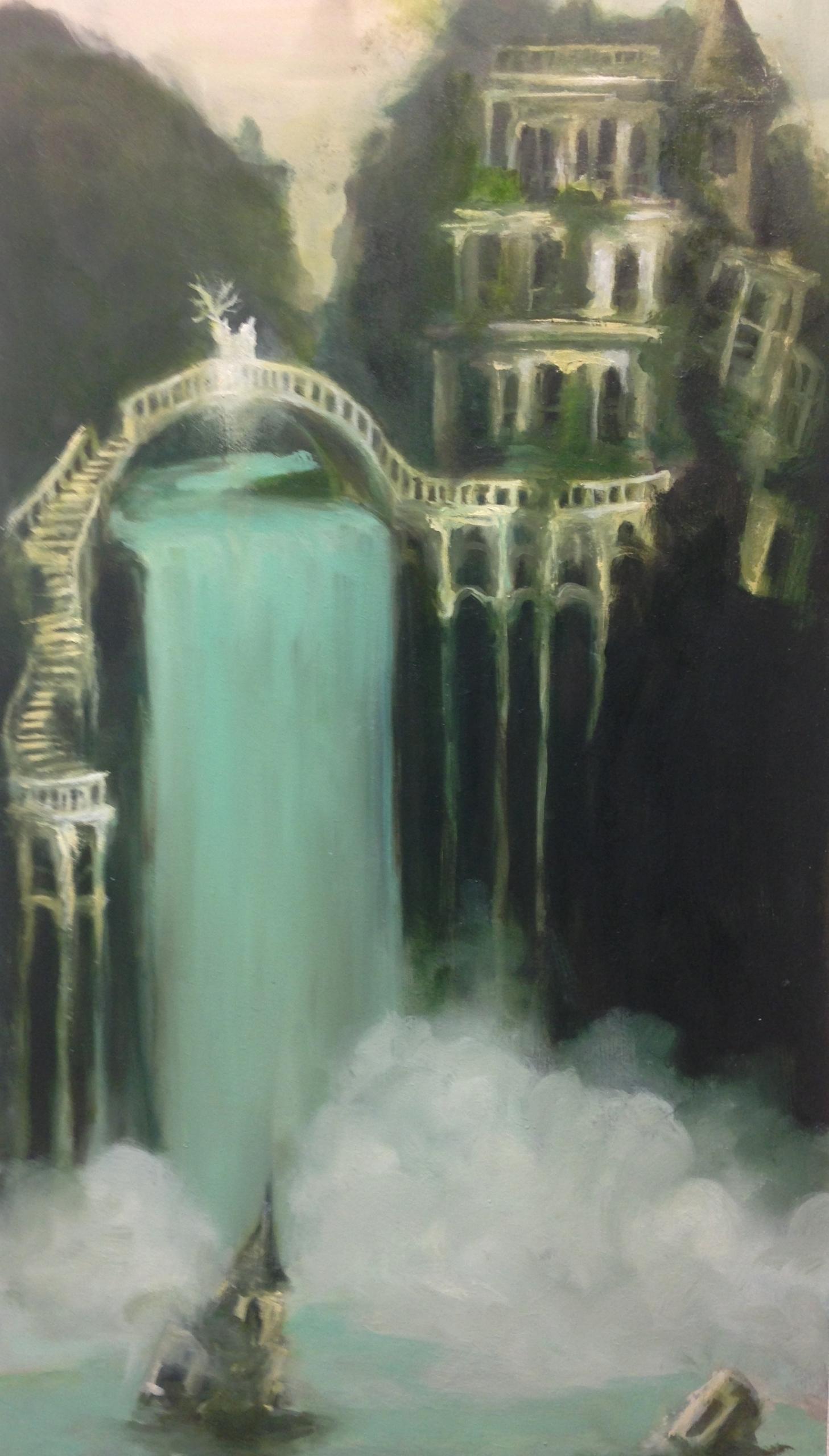 Abandoned falls - oilpainting, waterfall - sarakdunn | ello