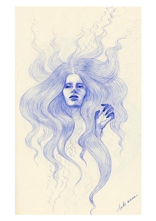 sad song lovely Ophelia - pen, art - annaorca | ello