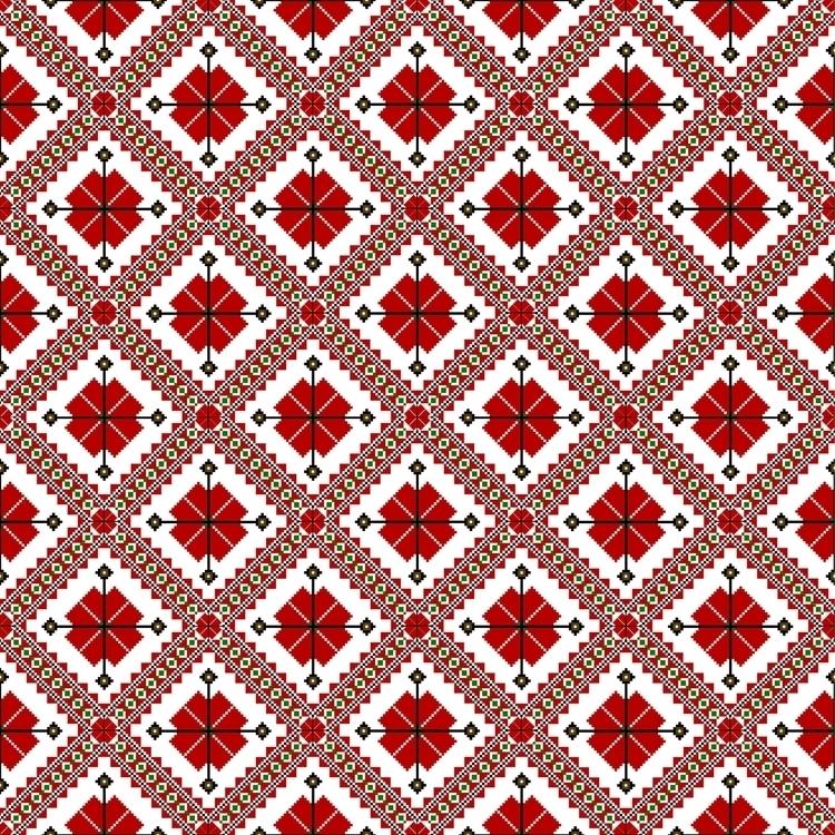 Red white ethnic pattern - russian - gretaberlin | ello
