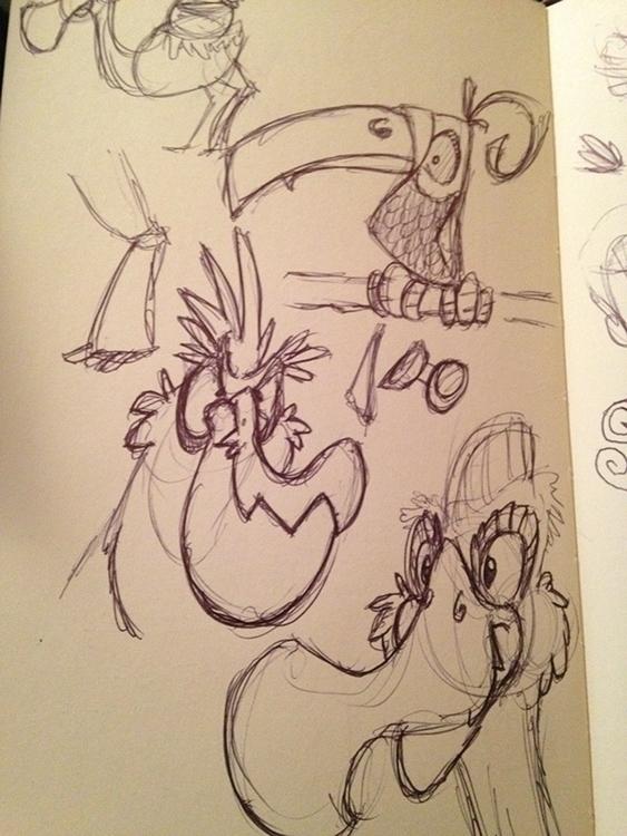 birds, illustration, sketch, sketches - dustlight_ | ello