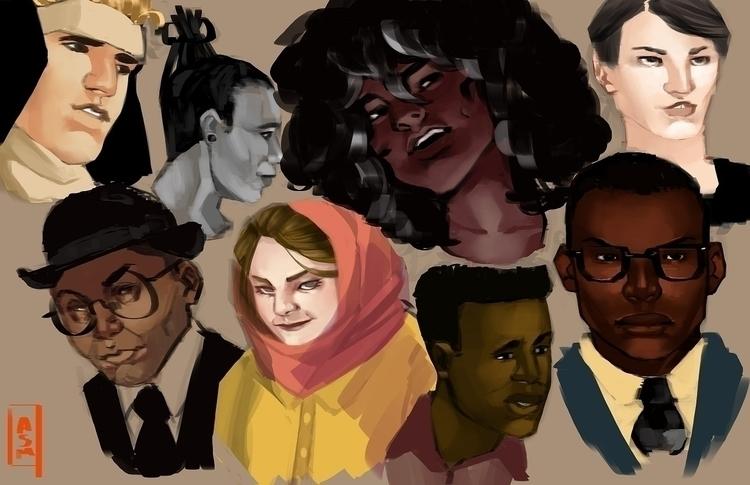 faces - sketches, illustration, painting - asmarts | ello