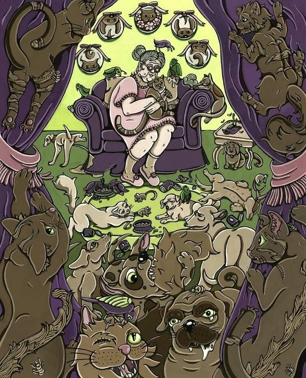 Cat Lady, gouache watercolor pa - sagecotignola | ello