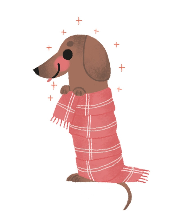 dog, illustration, scarf, wacom - mabelalarcon | ello