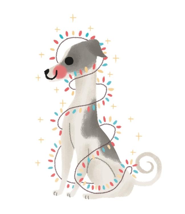 dog, illustration, wacom, christmas - mabelalarcon | ello
