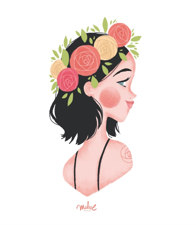 girl, flowers, tattoo, smile - mabelalarcon | ello